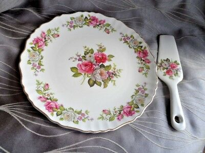 Old Foley Rose Harmony Cake Plate and Cake Server