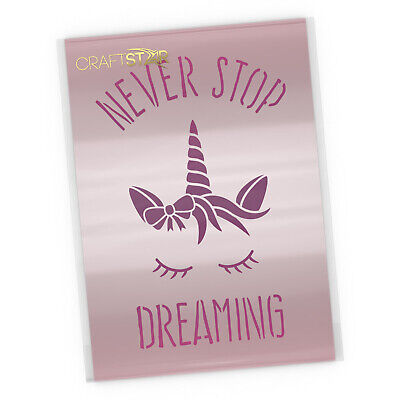 CrafStar Never Stop Dreaming Unicorn Stencil -  Reusable Unicorn Craft Template