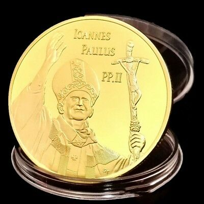 Collection Gold Souvenir Coin Vatican Pope in Italy St John Paul Plated Coin