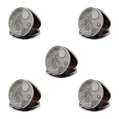 5PCS Silver Howling Wolf Moon Werewolf Mythical Creatures Silver Plated Coin