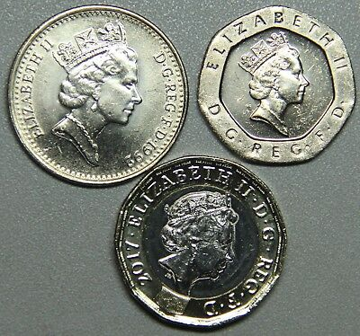 Great Britain BU 3-Coin Set-10 pence, 20 pence,1 pound