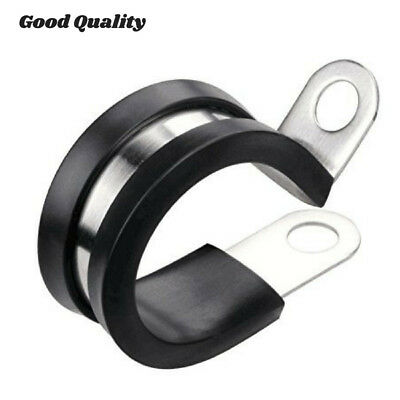 """20 Pcs 3/8"""" Rubber Cushioned Insulated Stainless Steel Cable Wire Clamp Holder L"""