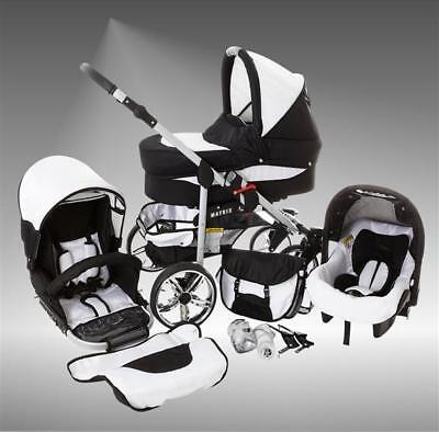 Lux4Kids Kinderwagen Set 3in1 Buggy Babywanne Autositz Babyschale Buggy Matrixll