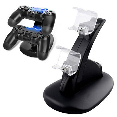 Dual USB Charger LED Charging Docking Station Stand for Sony PS4 Controller UK