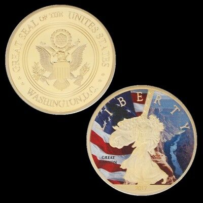 Gold Plated Coin US Great Canyon Washington Statue Of Liberty Gold Collect Coin