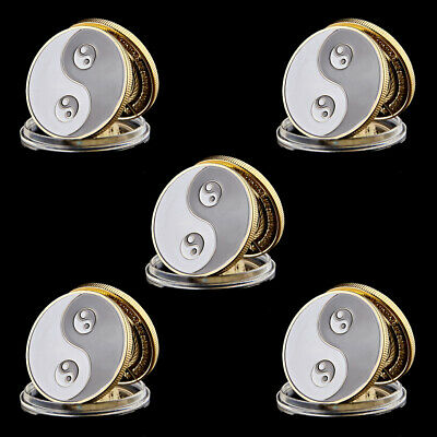 5pcs Souvenir Coin Chinese Yin And Yang Eight Diagrams Tai Chi Taoist Chip Coin