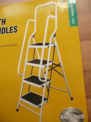 4 Step Ladder With Safety Handrail Anti-Slip Rubber Mat Tread Steel Foldable