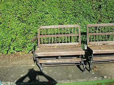 Very old Iron Frame seats with wooden slats which need replacing, maybe antiques