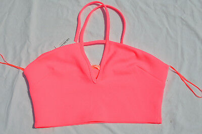 d365b4bacf106 BNWT NEON PINK SIZE M STRAPPY CROP TOP OH MY LOVE DESIGNER AT ASOS Cropped