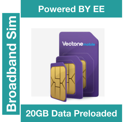 Vectone Powered by EE Data Sim card, Preloaded with 10GB Data all Unlock devices