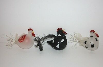Set of 3 Hand Blown Glass Rooster Chicken Ornaments with Metal Tails Christmas