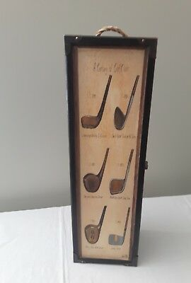 Golf themed WOOD Wine Bottle Carrier A century of Golf Clubs rope handle Rustic!