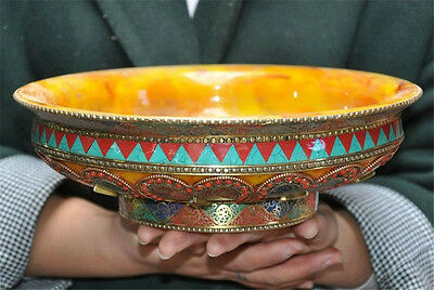 Collect rare Old Tibet buddhism Beeswax inlay Turquoise coral bronze bowl statue