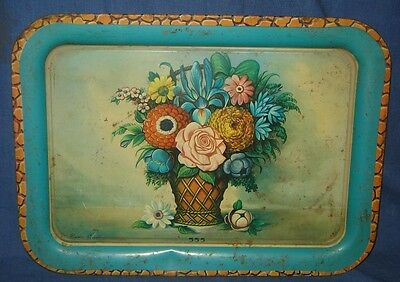 Vintage Antique Decorative Nice  Colorful Flower Litho Print Tin Tray