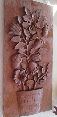 "Vintage or antique art deco carved wooden wall panel or plaque 20.25"" x 9.75"""