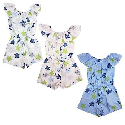Girl's Flower Print Playsuit Romper Off Shoulder Bardot Outfit Age 4-14 Years