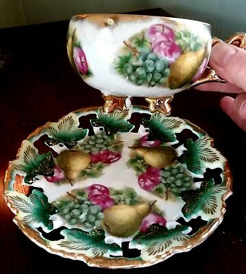 Vintage Cup & Saucer-Royal Sealy-Fine China-Iridescent-Hand Painted-Japan-Footed