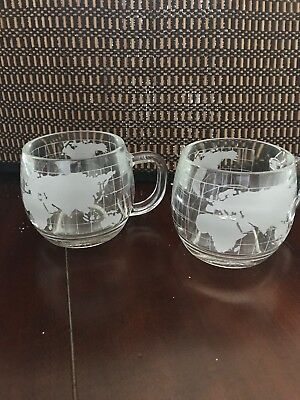 Two Nestle World Globe Atlas Etched/Frosted Glass Coffee Mugs Vintage Nescafe