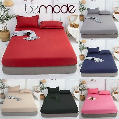 Platform Base Valance Sheet Fitted Extra Deep Pillow All Size Bedding Plain Dyed