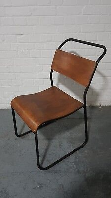 6 Chairs With Satin Black Frames Vintage Retro Stackable Seating School
