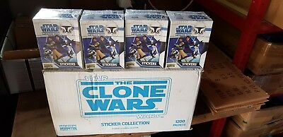 "4 x BOXES STAR WARS ""THE CLONE WARS"" STICKERS 200 MERLIN TOPPS 2008 NEW SEALED"