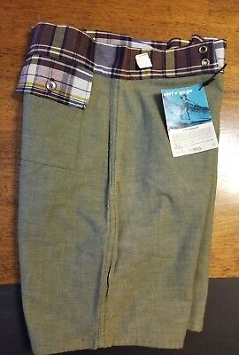Vintage Campus Swim Trunks boys Mens Made In USA Green Plaid with pocket Nwt