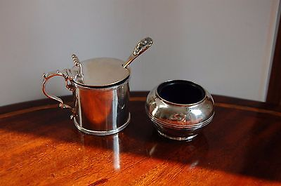 Set of 2 Vintage Silver Lidded Mustard Pot & Open Salt Cellar SEE DETAILS