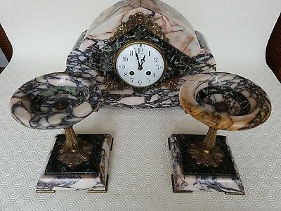 French Art Deco Marble Clock And Garniture With White Enamel Dial Signed Lisieux