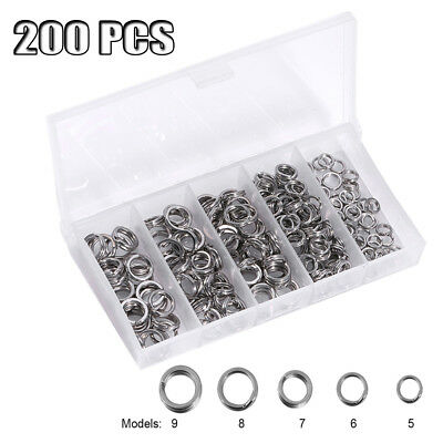 200pcs Split Rings Standard Nickel Tackle Making spinners lures Plugs 5 Tailles
