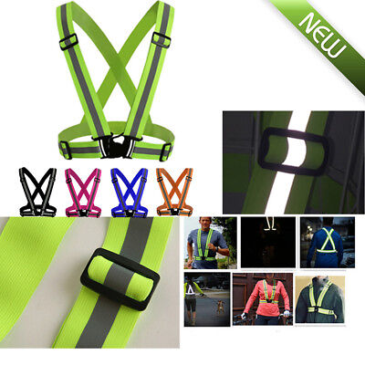 Visibility Neon Vest Reflective Belt Safety Vest for Running Cycling Sports UK