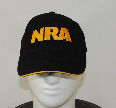 NRA Baseball Cap Hat Black Yellow Embroidered USA Flag One Size Adjustable 9b7c7668fb8