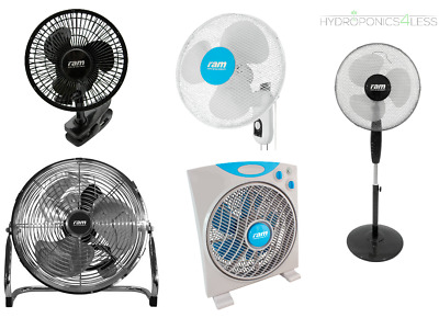 RAM Cooling Fans Clip Wall Floor Air Circulators Pedestal Eco Hydroponics