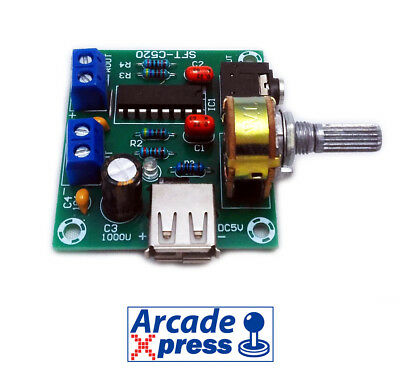 Amplificador de Sonido Arcade USB Audio Game Estéreo 5W 8 Ohm Board Amplifier