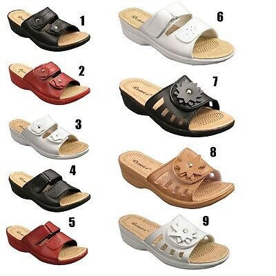 Ladies Womens Wedge Heel Slip On Open Toe Mules Sandals Shoes Size 3 4 5 6 7 8