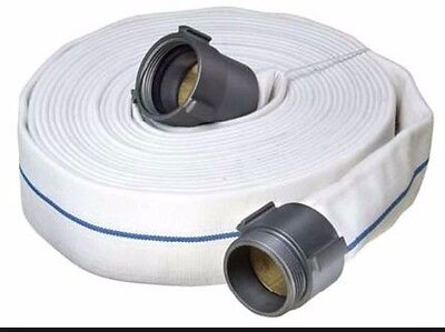 """1-1/2"""" x 50' Double Jacket Fire Hose Coupled with Aluminum NST Thread Ends"""