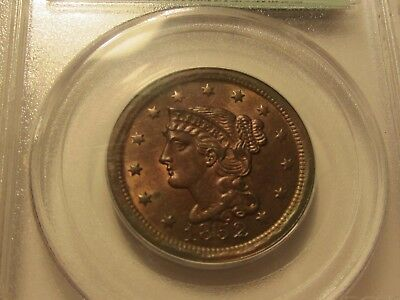 Beautiful 1852 Large Braided Cent Pcgs Ms63Rb Old Green Holder