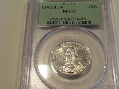 Brilliant Semi-Prooflike 1893 Isabella Quarter Pcgs Ms62 In Old Green Holder