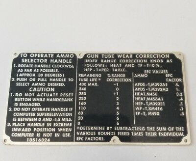 VINTAGE US army air force NAVY WWII GUN operating metal badge Instruction plate
