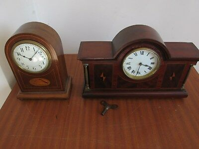 X2 Antique French Inlayed 8 day Platform Balance Mantle Clock