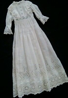 Gorgeous Eyelet Lace Doll Gown For Antique Dolls