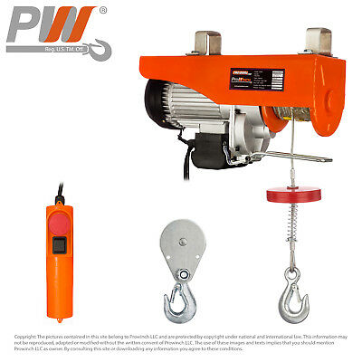 3Yr WTY Electric Wire Rope Hoist 880 lbs. capacity - 120V
