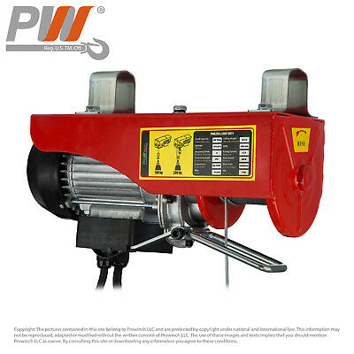 3Yr WTY Electric Wire Rope Hoist 440 lbs. capacity - 120V