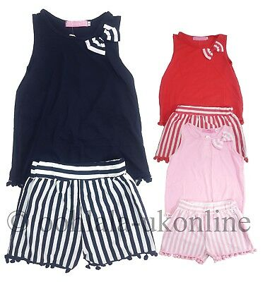 Girls Kids Pom Pom Bow Shorts & Vest Top 2 Piece Set Outfit Ages 2 to 12 Years