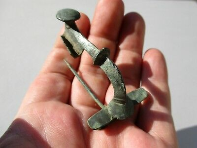 ancient superb Roman bronze intact brooch, fibula