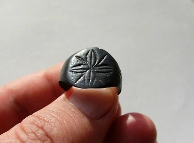 ancient late Roman/Byzantine bronze nicely cross carved ring, circa X century AD
