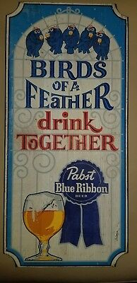 "Vtg PABST BLUE RIBBON PBR Wooden Beer Sign ""Birds of a Feather"" Bar Advertising"