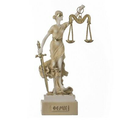 "Greek Goddess Themis 5.5"" Statue Blind Lady Justice Lawyer Gift Golden"