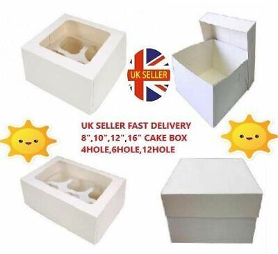 CAKE BOXES WITH LID 8,10,12,14,16 inch & CUPCAKE BOXES 4,6,12 HOLE(Pack of 5,10)