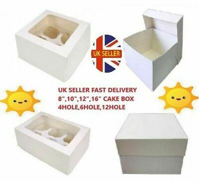 White Cake Boxes & Lids 8,10,12,14,16 inch & Cupcake Boxes 4, 6, 12 Hole/Hold