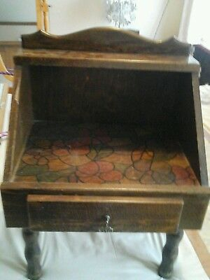 small antique drawer unit very pretty painting on shelf donot no much about it